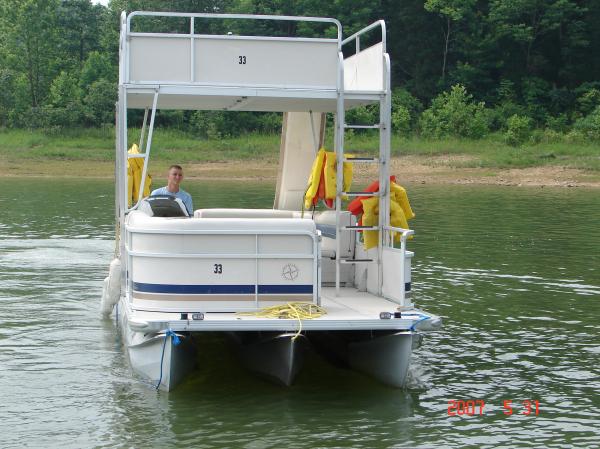 #33 Family Tri-toon Slow Tow & Slide 24 ft. 2006 Leisure 240 Meridian waterslide pontoon boat