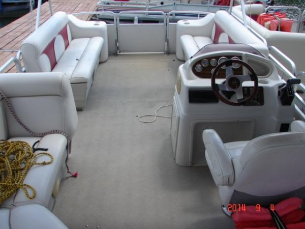#28 Tri-Toon Tubin' Fool 2009 (new upholstery 2021)  Leisure Meridian 2423 Pontoon Boat